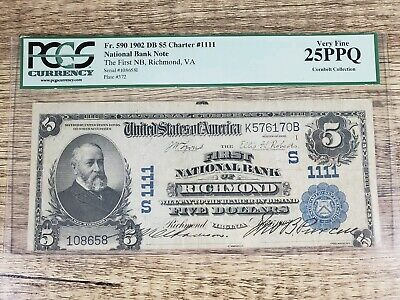 The First National Bank of Richmond Virginia VA $5 Currency 1902DB Charter 1111
