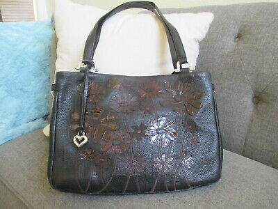 Brighton Croc Embossed Floral Applique Black Leather Medium Shopper Bag