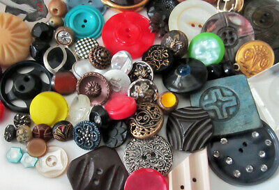 Antique Vintage Lot of Buttons -  Glass, Metal, Celluloid, Bakelite, Over 70