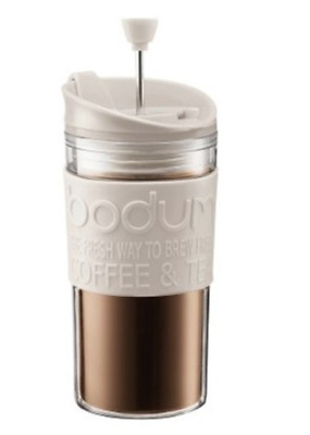 Bodum Travel Plunger - Coffee Press Mug - Reusable 350ml Cup - White - Brand New