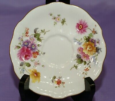 "Royal Crown Derby English Bone China 5"" Orphan Saucer With Mixed Flowers"