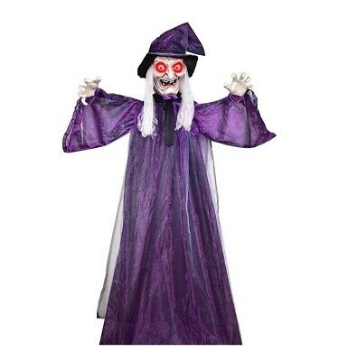"72"" Life Size Hanging Talking Witch for Halloween Haunted Props Decoration"