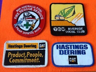 Rare PATCH/Badges (4) FIREMAN & RESCUE BHP Mines/Mining (not Stickers) FREE POST