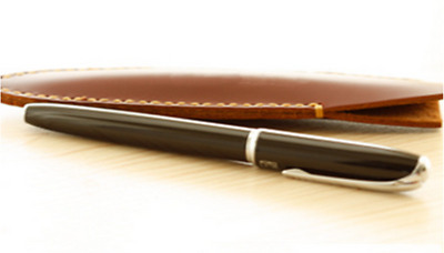 fountain pen storage bag Genuine cow Leather pouch Customize case brown z124-y