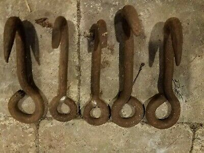 Antique Primitive Cast Iron Rigging Hooks Industrial Hooks lot of 5
