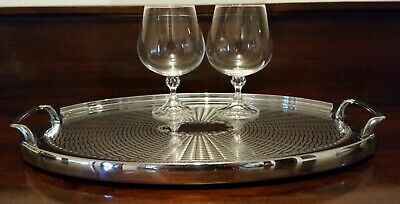Art Deco Chrome Polished Tray Handles Sides Oval Wiles Adelaide Australia