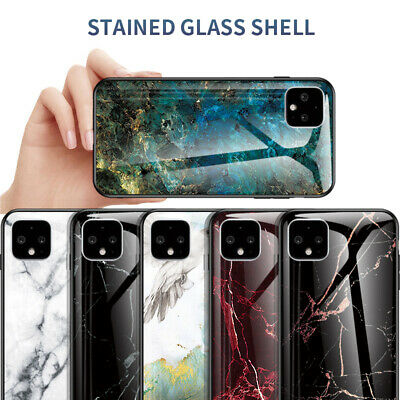 For Google Pixel 4 3A 3 XL Luxury Gradient Marble Tempered Glass Hard Case Cover