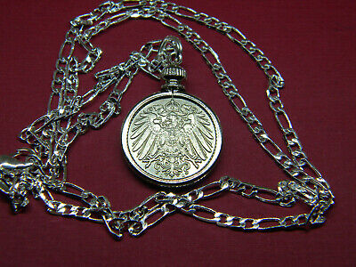 """IMPERIAL GERMAN EAGLE COIN PENDANT set on a 20"""" .925 Sterling Silver Chain"""
