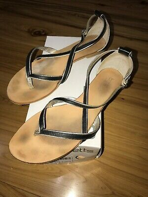 Ladies Strappy Sandals Betts Brand Black/Silver Size 10 Angela Style - In Box