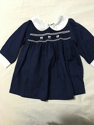 Navy Dress Baby Girl Halo Baby Brand Sherred Front Size 0 Excellent Condition