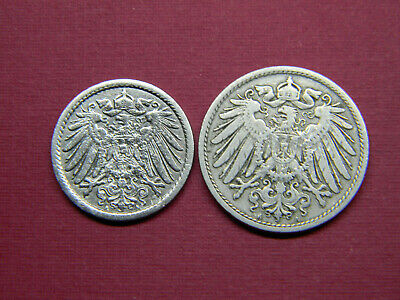 Historical Antique- German 5 & 10 Pfennig Coin Lot- More than 100 Years Old Coin