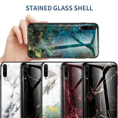 For Huawei Honor Play 3 9X 8A 8S Gradient Marble Tempered Glass Hard Case Cover