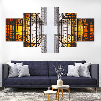 Architecture Skyscraper Abstract Canva Print Painting Home Decor Wall Art Poster