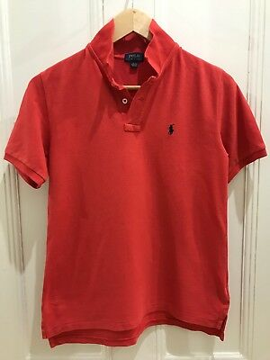 Ralph Lauren Polo Tee Collared Orange Boys Size L 14-16 Excellent Condition