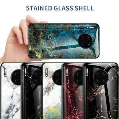For Huawei Mate 30 20 10 Pro lite Gradient Marble Tempered Glass Hard Case Cover