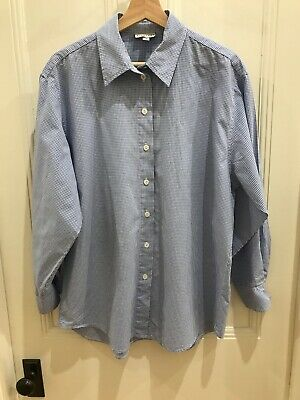 Witchery Shirt Long Sleeved Collared Fine Light Blue/White Check Ladies Size 14