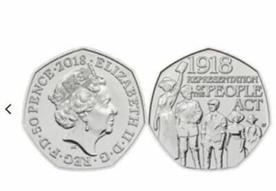 2018 Representation of the People Act 50p Fifty Pence Brilliant Unc Coin BUnc