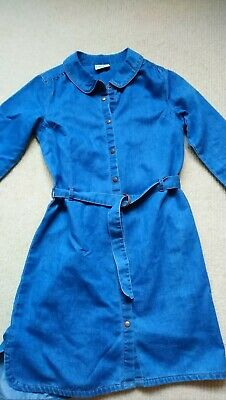 GIRLS NEXT BLUE denim cotton dress age 11 , £7.50