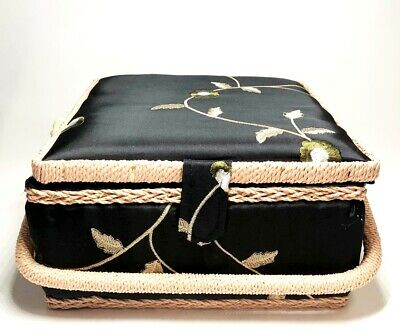 Allary Large Wood Sewing Basket with sewing Kit Tools, 9x9x5 Inch, Black Flower
