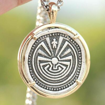 Maze Man Labyrinth Pendant Ancient Inspirational Jewelry Necklace