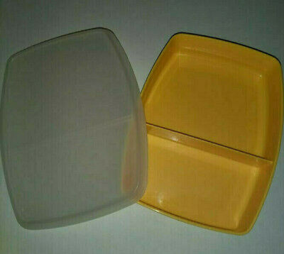 Vintage Tupperware Yellow Divided Container With Lid (# 813-5 And # 814-7)