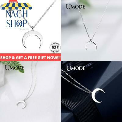 Umode Fashion Moon 925 Sterling Silver Necklaces  Pendants Gifts For Women Chai
