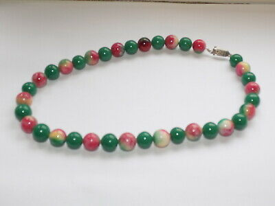 CHINESE HAND CARVED GREEN/COLOURED JADE BEAD NECKLACE SILVER CLASP 95 gm
