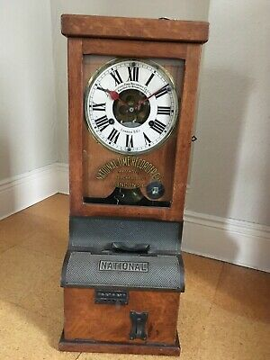 Antique National Time Recorder Clock, Clocking In Machine Timepiece