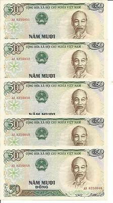 VIETNAM LOT 5x 50 DONG 1985  P-96. UNC CONDITION. 4RW 25 SET
