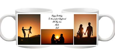 PHOTO 3 Picture Collage With Message Personalised Mug Gift Cup Birthday Present