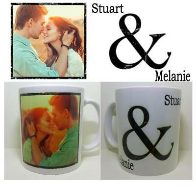 PHOTO 1 Picture Collage And Text & Personalised Mug Gift Cup Birthday LOVE