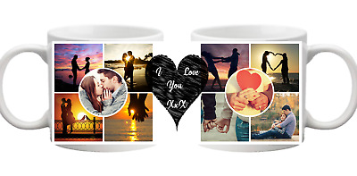 PHOTO 10 Picture Collage Love Heart Circle Message Personalised Mug Gift Cup