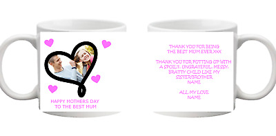 PHOTO 1 Picture Love Heart Name Collage Personalised Mug Gift Cup Mothers Day