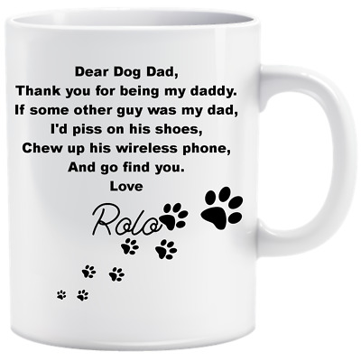Personalised Doggy Dad Name Funny Mug Cup Gift Birthday