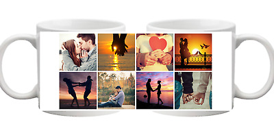 PHOTO 8 Picture Collage Personalised Mug Gift Cup Birthday Present