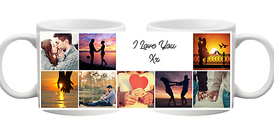 PHOTO 8 Picture Collage With Message Personalised Mug Gift Cup Birthday Present