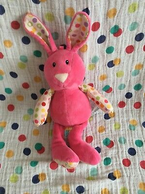 Mothercare Pink Bunny Rabbit Soft Toy Baby Teddy Bright Spots Comforter Rattle