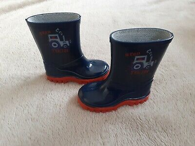 Boys Tractor Wellies Size 5 Infants - George Asda - Navy And Red