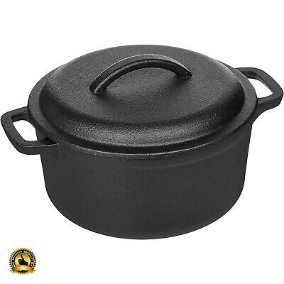 Cast Iron Dutch Oven Pot With Lid Handles 2 Quart Casserole Cooking Kitchen NEW