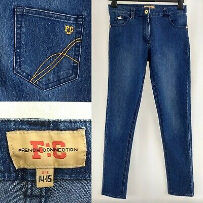 French Connection Straight Skinny Dark Blue Stone Wash Jeans Zip Girls Age 14-15