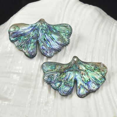 Multicolor Paua Abalone Shell Iridescent Carved Gingko Leaves Earring Pair 3.82g