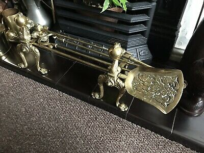 Very Large Victorian Brass Claw And Ball Fireside Companion Set, With Fire Dogs.