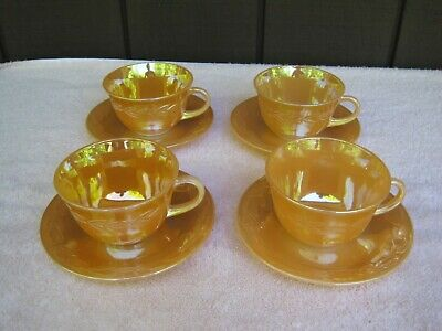 Set of 4 Vintage Fire King Peach Lustre (Luster) Laurel Cups and Saucers