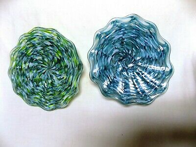 Set Of Two Hand Blown Glass Platters #980 Small Bowl Trays Filler Wall Art