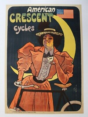 AFFICHE vélo AMERICAN CRESCENT CYCLE sign MISTI litho stars & stripes LUNE 1898?