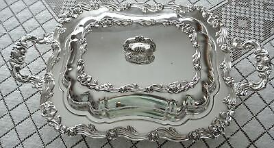 Beautiful Art Nouveau Floral  Sheridan Silver Plate Tray Double Entree Dish