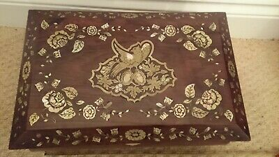 Antique Rosewood Brass  Mother Of Pearl  Box Writing Slope..no Overseas Posting