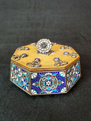 Emaille, Silber 84, Holz-Dose Russland-Enamel, Silver 84, Wood-russian Box