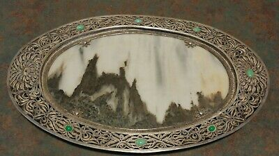 Beautiful Antique Chinese Sterling Silver Filigree Wire Jasper & Jade Platter
