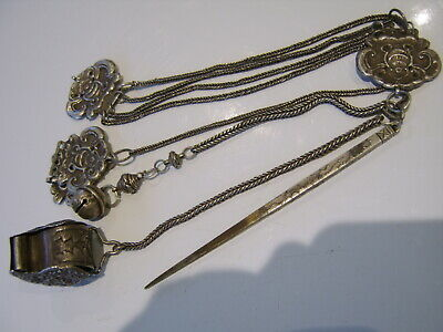 Antique Chinese Sterling Silver Chatelaine With Opium Box Etc